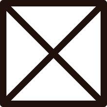 余白の広い四角い禁止マークの黒色イラスト No.02