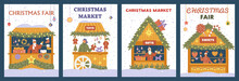 Vector Set Of Christmas Market Posters With Gift Shops, Decorations, Toys And Sweets.