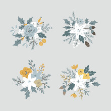 Christmas Set Of Floral Bouquets. Flowers, Poinsettia And Pine Cones. Spruce, Fir Tree Branches, Leaves And Holly Berries Isolated On Blue Background. Hand Drawn Design Elements. Winter Vector.