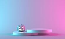 Pink Halloween Pumpkin With Podium Display Stand On Pastel Background. 3d Rendering.