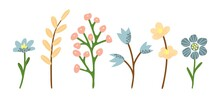 Simple Vector Drawing In Pastel Colors. Set Of Different Gentle Wildflowers. For The Festive Design Of Cards, Invitations.