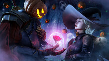 The Sinister Pumpkin Knight Makes A Gift From The Bottom Of His Heart To His Beloved Witch Girl, She Looks At Him In Fright, Little Holes Fly Around Against The Background Of The Forest. 3d Rendering