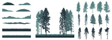 Creation Of Realistic Forest, Set Of Silhouette Of Beautiful Spruce And Pines Trees. Vector Illustration.