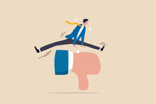 Deal With Negative Feedback, Criticism Or Blame, Ignore Bully Or Failure, Overcome Difficulty To Success In Work, Confidence Businessman Jump Over Critic Thumb Down Feedback To Achieve Business Goal.
