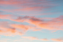 Bright Colorful Sky At Sunset In Pink Purple And Blue Colors.