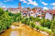 canvas print picture - Blick über die Saane auf die Altstadt von Freiburg im Üechtland mit Dom, Schweiz