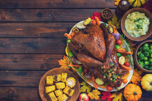 Traditional Stuffed Turkey With Side Dishes For Holidays
