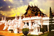 Ho Kham Luang Northern Thai Style In Royal Flora Ratchaphruek In Chiang Mai, Thailand. On Sunset In Autumn.