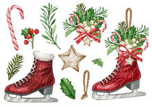 Vintage Christmas Red Ice Skates,watercolor Floral Sketes,winter Holiday Essentials,rustic Ice Skates Decor ,traditional Xmas,winter Bouquet,candy Cane, Red Berries, Holly Leaves,star