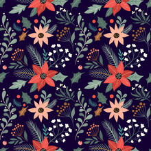 Christmas Floral Seamless Pattern With Poinsettia Flower, Festive Background, Winter Wallpaper, Gift Paper