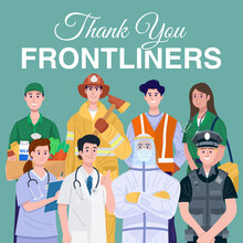 Thank You Frontliners Concept. Various Occupations People Wearing Face Masks. Vector