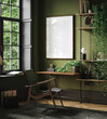 canvas print picture - Mockup frame in home office interior background, mid-century modern style in loft, 3d render