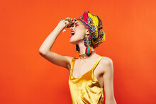 Beautiful Woman Multicolored Shawl Ethnicity African Style Decorations Red Background