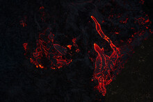 Red Lava On Volcanic Surface