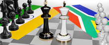 India And South Africa Conflict, Clash, Crisis And Debate Between Those Two Countries That Aims At A Trade Deal And Dominance Symbolized By A Chess Game With National Flags, 3d Illustration