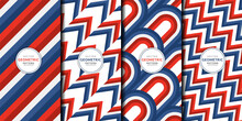 Abstract Geometric Pattern Red And Blue Line Stripes Combination Set. Zigzag Stripes, Chevron, Herringbone, Curve, Wallpaper. Template Bright Colors Collection For Fabric Patterns Wrapping Paper Etc.