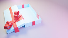 Blue Gift Box With Multi-colored Illumination Open Lid Side View. 3d Render