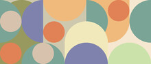 Trendy Vector Abstract Geometric Background With Circles In Retro Scandinavian Style. Graphic Pattern Of Simple Shapes In Pastel Colors, Abstract Mosaic.