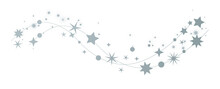 Sterne - Dekorativer Weihnachtlicher Silberner Sternenschweif Auf Weißem Hintergrund