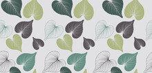 Abstract Seamless Leaves Pattern Background. Hand Drawn Botanical Texture Creative Design. Vintage Style Leaf Pattern. Suit For Wallpaper, Wrapping Paper, Printing, Fabric, Textiles, Curtain