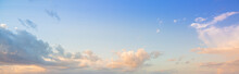 Clouds And Evening Sky,Real Majestic Sunrise Sundown Sky Background With Gentle Colorful Clouds Without Birds. Panoramic, Big Size