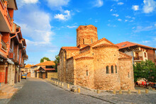 Cityscape With Historic Buildings - View Of The Church Of St. John The Baptist In The Old Town Of Nesebar, On The Black Sea Coast Of Bulgaria