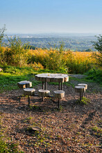 Picnic Area At The Top Of The Hill With A Beautiful View, Autumn Scenery