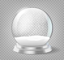 Snow Globe. Christmas Holiday Snowglobe, Empty Glass Xmas Snowball Template