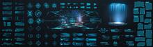 Sci-fi Digital Interface HUD  Elements Mega Set Pack. User Interface, Frame Screens. Callouts Titles, FUI Circle Set, Loading Bars. Dashboard Display Virtual Reality Technology Screen. Vector