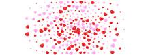 Red Heart Background White Vector. Elegant Texture Confetti. Fond Decor Frame. Tender Confetti Birthday Pattern. Pink Wallpaper Backdrop.