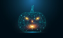 Halloween Pumpkin With Scary Face Isolated On Dark Blue Background. Low Poly Wireframe Halloween Concept. Digital Low Poly Vector Illustration.