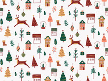 Seamless Christmas Pattern. Modern Boho Minimalism. Merry Christmas And Happy New Year. Winter Stickers For Design. Lots Of Drawings. Glass Ball With Snow.