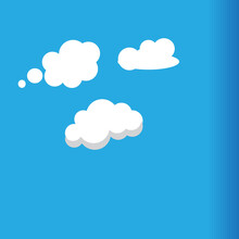 Cartoon White Clouds Icon Set Isolated On Blue Free Vector