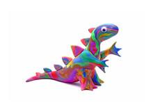 Cute Dinosaur Isolated On White Background. Handmade Colorful Dino (Rainbow Dinosaur) Play Dough For Kids DIY (Do It Yourself) Class