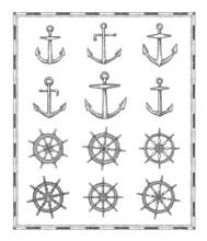 Anchors And Helm Sketches. Vintage, Antique Map Elements. Marine Sailing, Nautical Adventure And Naval History Hand Drawn Vector Icons With Admiralty And Fisherman Anchors, Sailboat Steering Wheel
