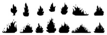 Collection Of Fire Silhouette Icon. Campfire Flame. Warning Icon. Abstract Design. Vector Illustration. Stock Image. EPS 10.