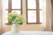 Platic White Flower Decoration In House With Sunny Day Background.