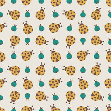 Seamless Vector Pattern With Yellow And Turquoise Beetles