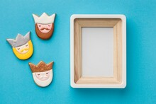 Top View Three Kings With Frame Epiphany Day