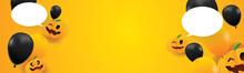Hello Halloween Background Orange Yellow Page Benner Space Pumpkins On October Autumn Season Poster Card