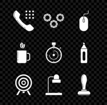 Set Telephone Handset, Gear, Computer Mouse, Target, Table Lamp, Stamp, Cup Of Tea Leaf And Briefcase Icon. Vector