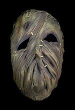 Burlap Stitched Scarecrow Mask Isolated Against Black Background