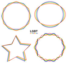 LGBTの象徴である虹色6色で構成された美しいラインアート フレーム セット ベクター Beautiful Line Art Frame Set In Six Colors Of The Rainbow, A Symbol Of The LGBT Community.