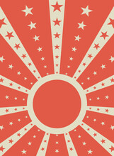 Sunlight Retro Background With Round Frame For Text. Red And White Color Burst Background With Stars.
