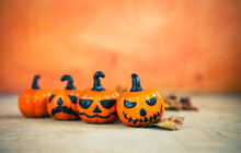 Halloween Invitation Card Background Idea, Halloween Pumpking With Space On Blurred Background, Decoration Item For Halloween Party