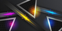 Black Abstract Diagonal Overlap Layers Background With Red Blue Yellow Light Triangle Decoration