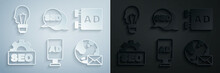 Set Advertising, SEO Optimization, Earth Globe With Mail, And Light Bulb Concept Of Idea Icon. Vector