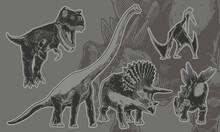 Vintage Set Of Dinosaurs With Triceratops, Stegosaurus, Pterosaur, Tyranosaurus, Brontosaur. Vector Retro Illustration For T-shirt Print Or Banner, Poster Design