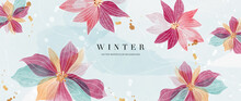 Watercolor Art Background Vector. Wallpaper Design With Winter Flower Paint Brush Line Art. Earth Tone Blue, Pink, Ivory, Beige Watercolor Illustration For Prints, Wall Art, Cover And Invitation.