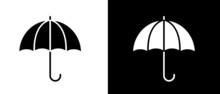 Black And White Umbrella Vector Icon Set